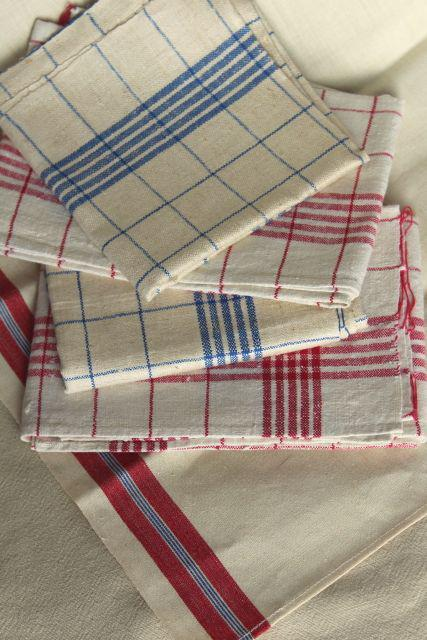 vintage pure linen kitchen towels red & blue checked, rustic french country farmhouse