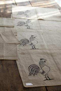 vintage pure linen napkins & place mats w/ rooster chicken print black on flax