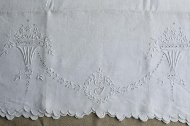 vintage pure linen pillowcase, whitework embroidery G monogram, french country style
