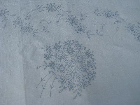 vintage pure linen tablecloth for embroidery, flowers stamped to embroider