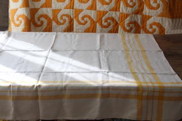 vintage pure linen tablecloth for french country style farmhouse kitchen, mustard gold border