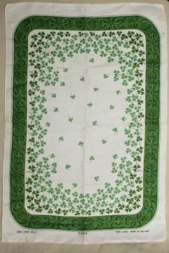 vintage pure linen tea towel, Irish shamrock clover print souvenir of Ireland