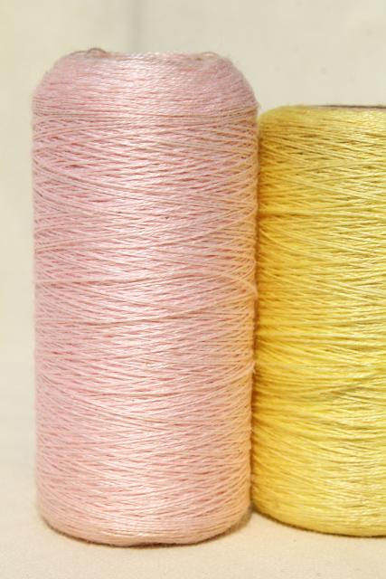 vintage pure linen thread for sewing, lace making or embroidery, pale pastel colors