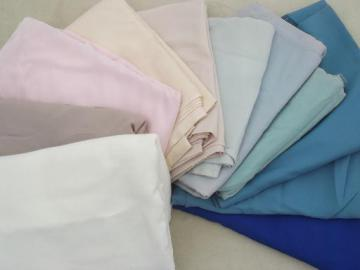 vintage pure silk fabric lot, matte finish silk in soft muted colors