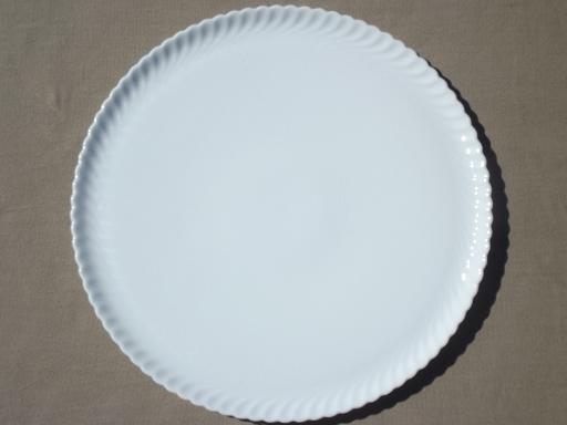 & vintage pure white porcelain serving platter round fluted cake plate
