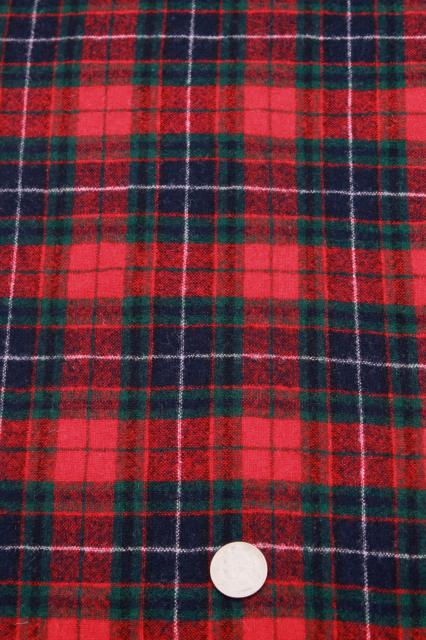 Vintage Pure Wool Tartan Plaid Fabric Imported Scots Or Irish Clan Material