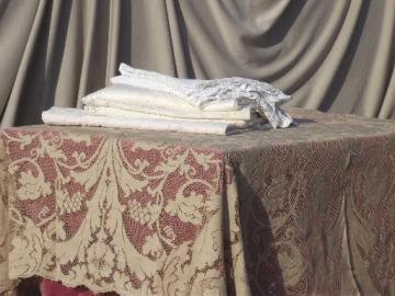 Vintage Quaker Lace Type Cotton Tablecloth Lot, Shabby Tablecloths Or  Cutters