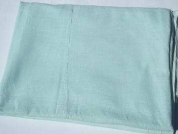 vintage quilt backing fabric, old pale green cotton feed sack bed sheet