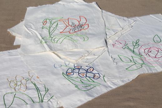 vintage quilt blocks, lot of embroidered flowers cotton squares for album quilt