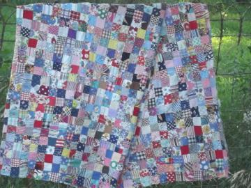 vintage quilt top, 40s 50s cotton prints fabric postage stamp patchwork