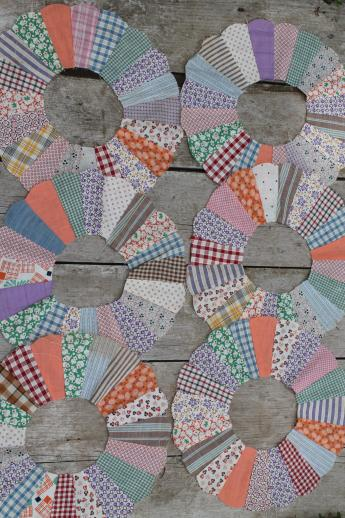 vintage quilt top blocks, dresden plate pattern quilt block, old 40's 50's cotton print fabric