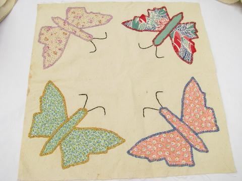 quilt top blocks, hand-stitched patchwork applique butterflies ... : butterfly applique quilt - Adamdwight.com