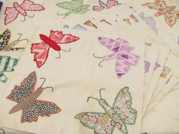 vintage quilt top blocks, hand-stitched patchwork applique butterflies, old cotton print fabric