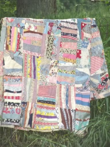 vintage quilt top, hand-stitched crazy quilt patchwork in cotton ... : vintage quilt tops - Adamdwight.com