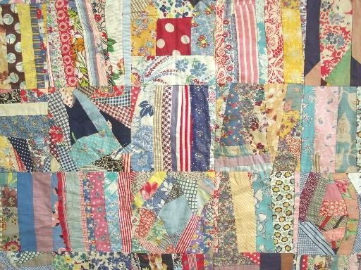 Crazy Quilt Pattern Fabric : vintage quilt top, hand-stitched crazy quilt patchwork in cotton print fabric