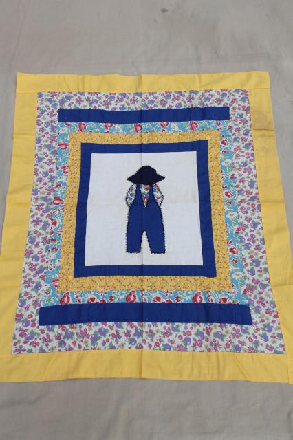 Vintage Quilt Top Patchwork Applique For Baby Boy Farmer