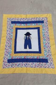 vintage quilt top patchwork applique for baby boy, farmer Sam hat & overalls