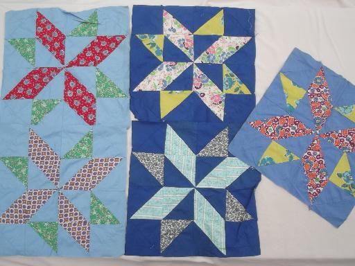 vintage quilt top & patchwork quilt blocks, 40s 50s 60s print cotton fabric