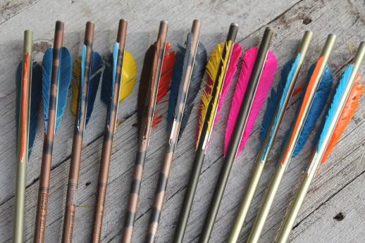 Vintage Quiver Of Arrows Old Archery Equipment Assorted