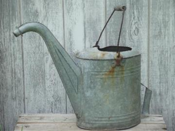 vintage radiator water can, galvanized zinc watering can w/ old patina