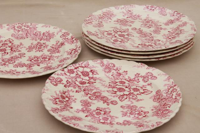 vintage raspberry red chintz floral Taylor Smith Taylor china plates toile style print & raspberry red chintz floral Taylor Smith Taylor china plates ...