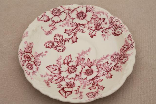 vintage raspberry red chintz floral Taylor Smith Taylor china saucer plates toile style print & raspberry red chintz floral Taylor Smith Taylor china saucer ...