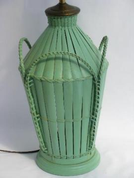 vintage rattan wicker table lamp, pretty jadite green paint
