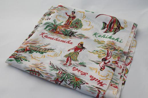 vintage rayon fabric, 40s 50s Hawaiian print fabric w/ surfers & hula girls