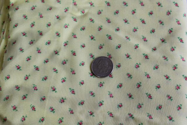 vintage rayon fabric, tiny pink rosebuds print on yellow 36 wide 4 yards