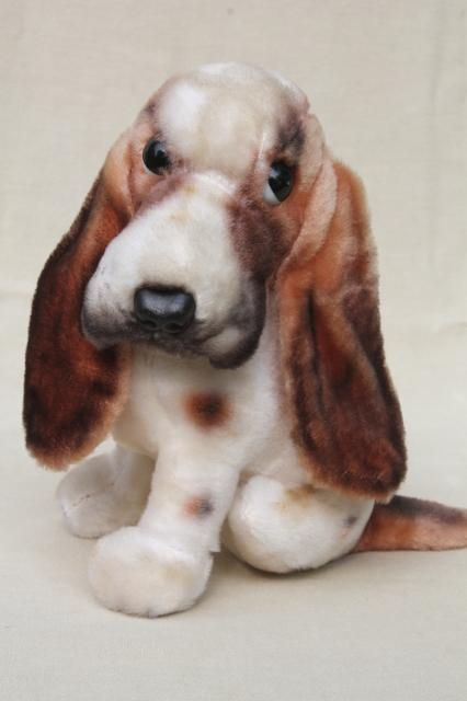 Vintage Rayon Mohair Plush Stuffed Animal Toy Basset Hound Dog W