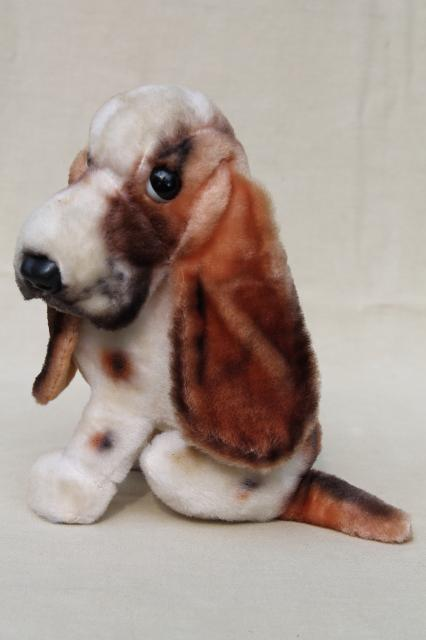 Vintage Rayon Mohair Plush Stuffed Animal Toy Basset Hound