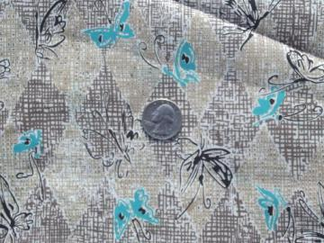 vintage rayon or silky poly fabric, butterfly print aqua and shades of brown