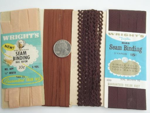 vintage rayon ribbon seam binding, seam tape sewing trim lot