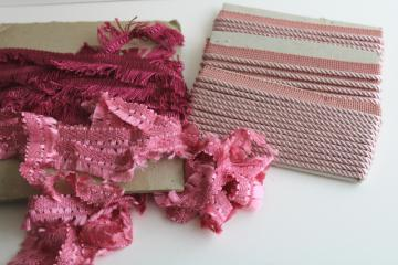 vintage rayon trims for home decor sewing, rose & pink fringe, rope twist braid