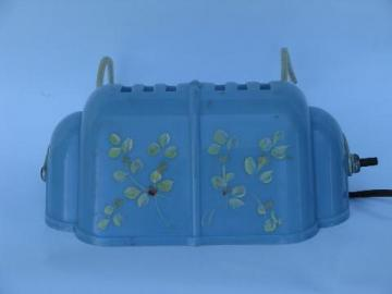 vintage reading light, pale blue plastic bed headboard lamp w/ flowers