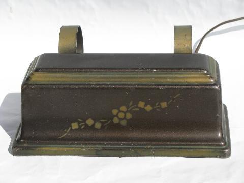 vintage reading light tole bed headboard lamp w bronze stencil. Black Bedroom Furniture Sets. Home Design Ideas