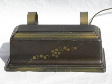 vintage reading light, tole bed headboard lamp w/ bronze stencil painted flowers