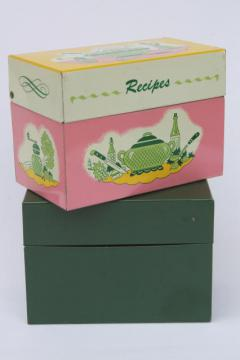 vintage recipe boxes, pink kitchen print metal card file box for recipes cards