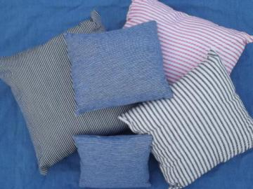 vintage red and indigo blue ticking and railroad hickory stripe pillow lot