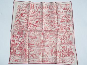vintage red and white Wyoming map print hanky, souvenir handkerchief