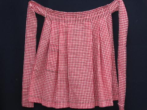 vintage red and white checked gingham half aprons for kitchen chores