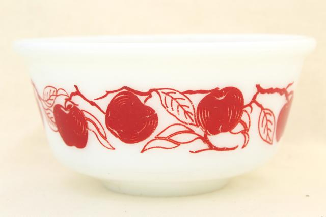 vintage red apples milk glass mixing bowl, Hazel Atlas kitchenware glassware