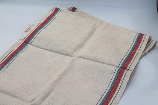 Vintage Red Amp Blue Band Linen Towel Fabric Crisp Smooth