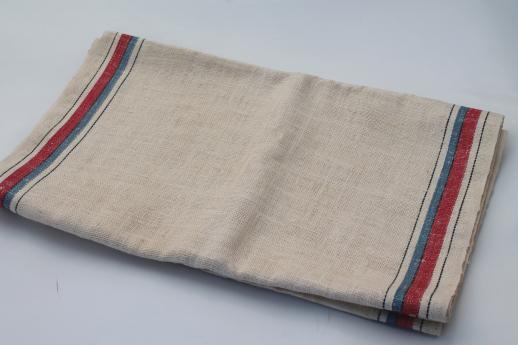 vintage red & blue band linen towel fabric, crisp smooth ...