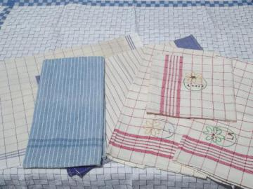 vintage red & blue cotton kitchen tea towels, embroidered dishtowels lot