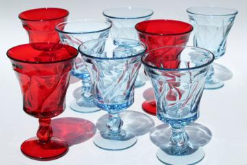vintage red & blue glass water goblets or wine glasses, Fostoria Jamestown colored glass