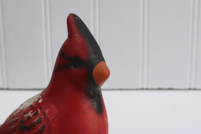 vintage red cardinal bird Christmas decoration, rustic winter woods holiday decor