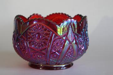 vintage red carnival glass rose bowl, Indiana glass sunset heirloom pattern