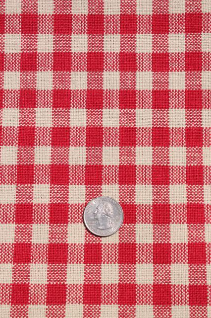 Delightful Vintage Red Checked Flax Linen Fabric, French Farmhouse Or Bistro Tablecloth  / Kitchen Towel Cloth