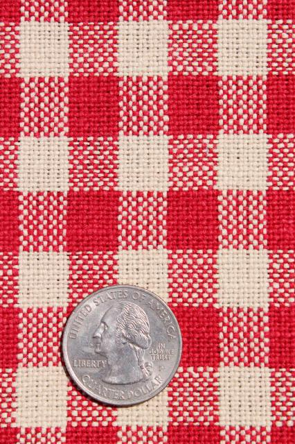 Vintage Red Checked Flax Linen Fabric, French Farmhouse Or Bistro Tablecloth  / Kitchen Towel Cloth